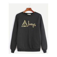 Black Letter Print Casual Sweatshirt and other apparel, accessories and trends. Browse and shop 8 related looks.