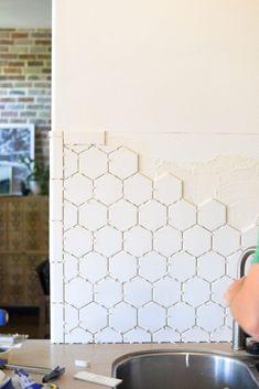 Hexagon Tile in the Kitchen! - Vintage Revivals | How to Install Backsplash | DIY Kitchen Makeover