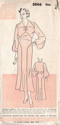 1930s One Piece Dress Vintage Sewing Pattern