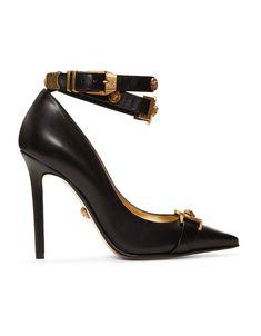 8d87927339b VERSACE Black Tribute Logo Heels