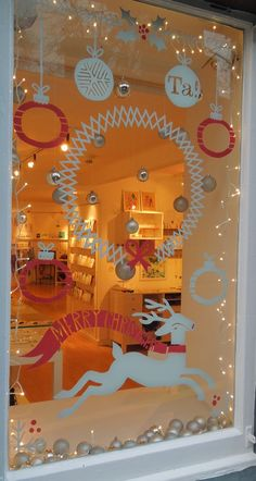Beautiful christmas themed storefront window signs, but they don't have to be for store windows only ; Noel Christmas, Christmas Themes, Xmas Window Decorations, Ideas Decoracion Navidad, Window Art, Window Signs, Window Ideas, Decoration Vitrine, Holiday Fun