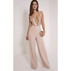Darcey Rose Gold Sequin Plunge Cross Back Jumpsuit (62 AUD) ❤ liked on Polyvore featuring jumpsuits, rose gold, sequin jumpsuit, jumpsuits & rompers, sequin jump suit, cross back jumpsuit and wide leg jumpsuit