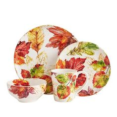 Here's a delightful serving of richly colored leaves on glazed ironstone. But our Wildwood Leaves Dinnerware is about more than just good looks—it's dishwasher-safe and microwaveable, too. A Pier 1 exclusive. Thanksgiving Dinnerware, Thanksgiving Decorations, Table Decorations, Dream House Interior, Welcome Fall, Fall Table, Dinnerware Sets, Accent Decor, Fall Decor