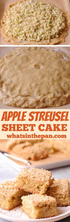 Apple Streusel Sheet Cake is a moist tender apple cake with a delicious apple filling and the family favorite crumb topping. This old fashioned cake is simple and quick to make, and you can serve Apple Crumb Cakes, Apple Cake, Apple Streusel, Roll Cookies, Apple Filling, Cooked Apples, Apple Desserts, Sweets, Baking
