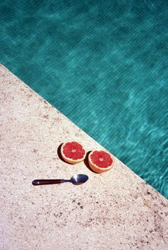 STOP BEING STYLISH, http://stopbeingstylish.tumblr.com #grapefruit #swimming pool #spoon #summer #chilling #food