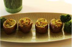 Broccoli Pesto Stuffed Potatoes Bites! A yummy appetizer/snack that's #glutenfree #nutfree #eggfree  #allergyweek  http://www.superhealthykids.com/blog-posts/broccoli-pesto-stuffed-potato-bites.php