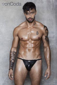 AlphaMaleUndies  - vonCoda DIRTY HERO Black Leather Brazilian Bikini, €25.00 (http://www.alphamaleundies.com/voncoda-dirty-hero-black-leather-brazilian-bikini/)