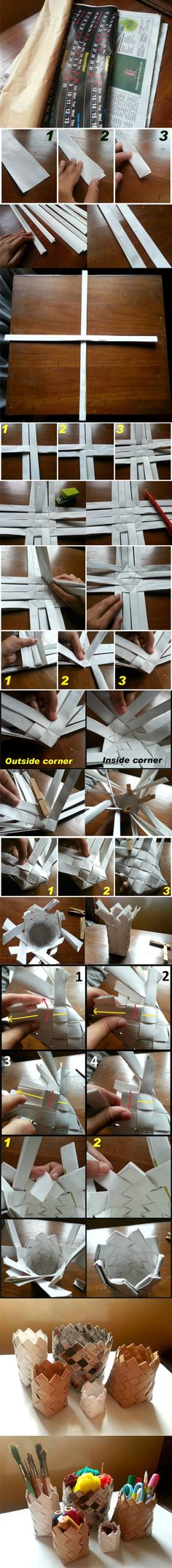 simple and fast. Diy Arts And Crafts, Crafts To Do, Easy Crafts, Diy Paper, Paper Crafts, Paper Weaving, Paper Basket, General Crafts, Crafty Craft