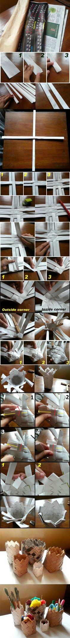 Pequeñas cestas reciclando papel / Via instructables.com