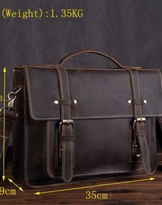 Cool Leather mens Briefcase laptop Briefcase Work Shoulder Bag Business Bag for Men Leather Vintage Mens Briefcase Lawyer Briefcase Laptop Briefcase Business Briefcase For Men