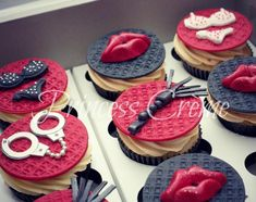 """My version of fun, kinky, provocative and chic bachelorette Everything is handmade. *use idea for bachelorette """"His S to her M"""" for S&M theme Hen Party Cakes, Cupcake Party, Cupcake Cakes, Bachelorette Party Cupcakes, Bachelor Cake, Pecan Cake, Savoury Cake, Cakes And More, Shower Cakes"""