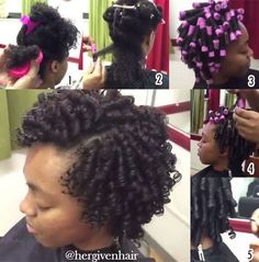 Protective natural hairstyles Rod Set on Hair Pelo Natural, Natural Hair Tips, Natural Hair Styles, Roller Set Natural Hair, My Hairstyle, Girl Hairstyles, Braided Hairstyles, Hair Rods, Perm Rod Set