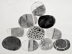 Pebbles are Great - Tessa Horrocks Illustrations, Illustration Art, Drawing Rocks, Gelli Arts, Black White Art, Rock Art, Textile Art, Making Ideas, Framed Art