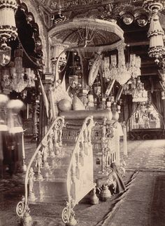 The Dasara Hall with Throne, Palace, Mysore ~ Ancient photos of India