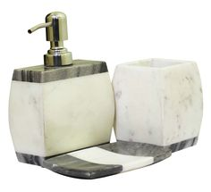Bulk Wholesale Set of 3 Bathroom Accessories – Liquid Soap Dispenser, Tumbler & a Soap Dish – Hand-Carved in White & Grey Marble – Home Décor