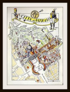 Vintage Vatican City Map (Citta del Vaticano, Jacques Liozu, 1950): Rome Italy, History Teacher Gift, Pope Catholic Gift, Frameable Wall Art