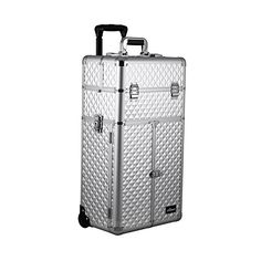 Sunrise Outdoor Travel Professional Cosmetic Holder Silver Diamond Trolley Makeup Case - I3165 >>> Find out more about the great product at the image link.