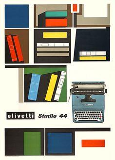 Vintage Graphic Design Olivetti Studio 44 Typewriter Print by Giovanni Pintori, 1954 Vintage Graphic Design, Retro Design, Graphic Design Illustration, Graphic Design Inspiration, Vintage Designs, Design Art, Print Design, 1950s Design, Retro Illustration