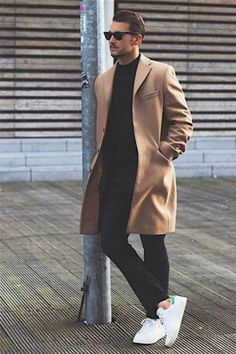 How to Wear a Tan Coat For Men looks & outfits) Mens Fashion Blog, Fashion Mode, Fashion Styles, Trendy Fashion, Trendy Clothing, Mens Fashion Coats, Man Style Fashion, Fashion Black, Fall Fashion