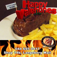 """Happy Valentines day from everybody at the Cattle Baron Mossel Bay. We hope to see you at our """"Grease"""" dinner this evening. Steak Dishes, Baron, Grease, Cattle, Happy Valentines Day, Beef, Dinner, Food, Kitchens"""