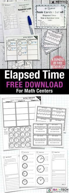 Elapsed Time Strategies, Activities, & Online Resources - New Site Fourth Grade Math, First Grade Math, Third Grade Centers, Grade 3, Math Measurement, Math Fractions, Elapsed Time, Free Math, Elementary Math