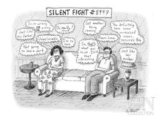 Silent Fight - New Yorker Cartoon Poster Print by Roz Chast at the Condé Nast Collection