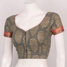 Hand Block Printed Cotton Blouse With Piping & Tie Up Back 10024181 - AVISHYA.COM