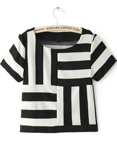 Black White Striped Short Sleeve Chiffon T-Shirt pictures