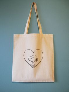 I Heart Snoopy Natural Cotton Tote Bag or Maxi Bag by BYKI on Etsy