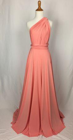 Sweet heart Wrap Convertible Infinity Dress Evening Dresses Straight Hem Floor Length  Peach echo Bridesmaid Dress-C13# by ScholleDress on Etsy https://www.etsy.com/listing/262684217/sweet-heart-wrap-convertible-infinity