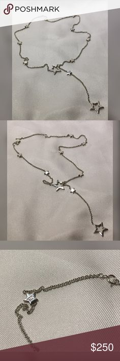 Tiffany Star Link Lariat Necklace Tiffany Star Link Lariat Necklace  This is a retired piece & it is a collector piece.  This has been worn only on special occasions & stored in the Tiffany bag.  I just don't wear it as much & prefer to sell to someone who can enjoy this.    This has been cleaned/polished to Like New.  Reasonable Offers Welcomed, but might not include box & Tiffany Pouch   Tags: Women, Girl, Luxury, Couture, Fashion, present, Party, Wedding, Christmas, Valentine's Day…