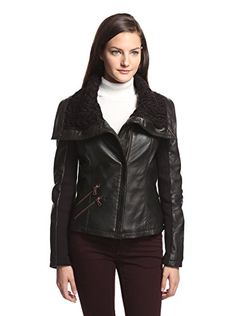 8a16d5dc73 Sam Edelman Women s Palermo Leather Jacket with Knit Collar (Black)