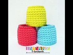 How To Crochet EASY Tshirt Yarn Basket - YouTube