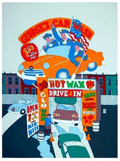 Title: George's Car Wash.  Year: Circa 1978.  Medium: Serigraph, signed and numbered in pencil.  Paper Size: 36 x 26 inches.  Artist: Seymour Chwast.  Source: http://www.rogallery.com/Chwast_Seymour/chwast-georges-car-wash.htm
