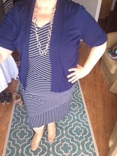Navy Crazy Stripe Dress with Navy Cardi ... Nude Pumps