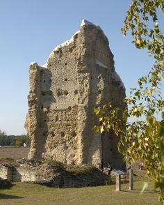 Théâtre du Vieux-Poitiers (Naintré, Vienne), 1er s. : la tour est le dernier vestige en élévation d'un théâtre gallo-romain de la cité de Briva qui pouvait accueillir 10 000 personnes.