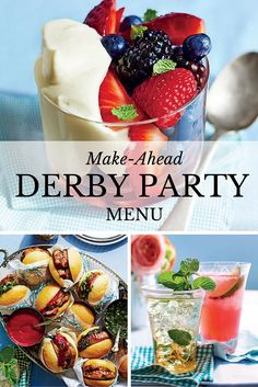 Celebrate the Kentucky Derby with these easy and elegant recipes that can all be made-ahead and served at room temperature.