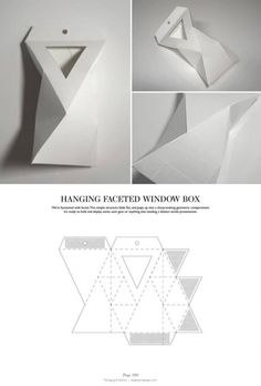 & DIELINES: The Designer's Book of Packaging Dielines Hanging Faceted Window Box - Packaging & Dielines: The Designer's Book of Packaging DielinesHanging Faceted Window Box - Packaging & Dielines: The Designer's Book of Packaging Dielines Packaging Dielines, Paper Packaging, Box Packaging, Packaging Design, Retail Packaging, Silhouette Cameo, Paper Folding, Diy Box, Origami Paper