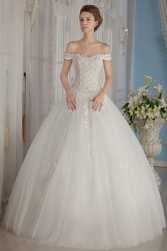 White Tulle Strapless Bridal Gown - Order Link: http://www.theweddingdresses.com/white-tulle-strapless-bridal-gown-twdn0051.html - Embellishments: Beading , Flower , Sequin; Length: Sweep/Brush Train; Fabric: Tulle; Waist: Natural - Price: 148.71USD