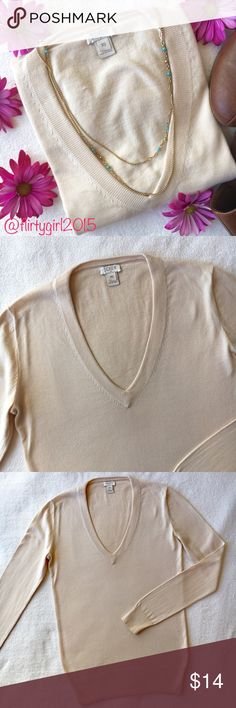 J. Crew Sweater Cream colored v-neck from J. Crew. 100% cotton. XS. Great for work or just as casual wear. No stains, rips or tears. Feel free to ask any questions. Happy Poshing!!  J. Crew Sweaters V-Necks