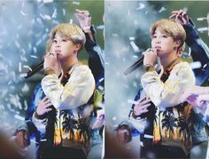 Awh with all the confetti Jimin looks like such an angel <3 #BTS #Jimin