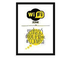 Pôster Senha Wifi com Moldura Preta - 34,3x46,5cm