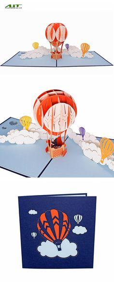 AITpop Fire Balloon hand-crafted greeting card 3D Pop Up Card.#travel#love