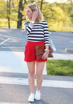 Red Shorts, & White Converse