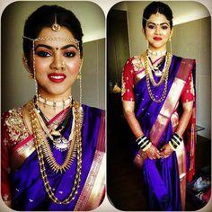 bridal jewelry for the radiant bride Marathi Bride, Marathi Wedding, Saree Wedding, Wedding Bride, Marathi Nath, Marathi Saree, Maharashtrian Saree, Maharashtrian Jewellery, Saree Hairstyles