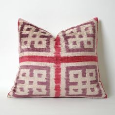 Velvet Ikat Pillow Cover  Ikats are vibrant textiles hand dyed and handwoven. They have been made for centuries along the Silk Road in Central Asia. This is the inherent beauty of a completely handwoven and dyed fabric. Hand-loomed Uzbeki silk velvet ikat pillow. Soft, silky, luxurious.  Change the theme of any room or office without changing your furniture !!!  ● Made of Silk Velvet Ikat ● 16 x 18 (40cm x 45cm) ● Back part of the cushions are manufactured by cotton fabric ● Hidden zipper…
