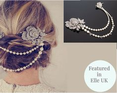 Vintage Style Hair Draping Pearls and Rhinetone by JulesJewellery, $233.50