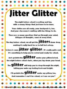 Jitter Glitter Back to School Freebie Jitter Glitter and poem: Terrific idea for a meet the teacher night prior to the first day of school. Night Before School, Back To School Night, 1st Day Of School, Beginning Of The School Year, School Teacher, School Days, School Stuff, Kindergarten First Day, Kindergarten Classroom