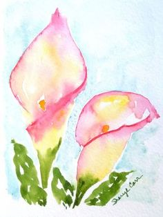 Watercolor paintings by zhanna kabina. watercolor calla lily painting of a calla lily. Watercolor Paintings For Beginners, Easy Watercolor, Watercolor Design, Abstract Watercolor, Watercolor Cards, Watercolor Trees, Watercolor Landscape, Watercolor Animals, Watercolor Techniques