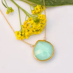 A amazing large faceted bezel set Natural Chrysoprase drop in 22k Gold Vermeil with Freshwater White Pearls
